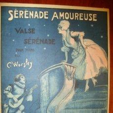 Partituras musicales: SERENADE AMOUREUSE VALSE SERENADE POUR PIANO PAR C. WORSLEY. Lote 28516597