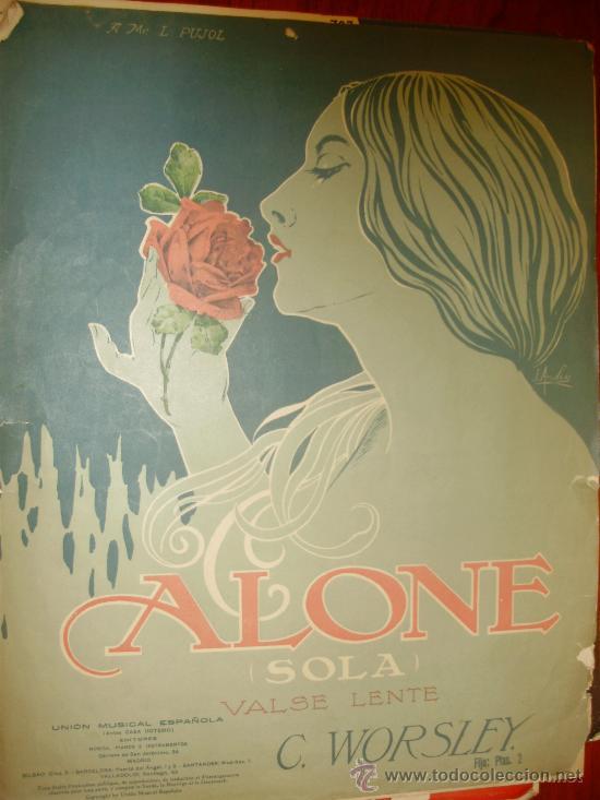 ALONE (SOLA) VALSE LENTE C. WORSLEY (Música - Partituras Musicales Antiguas)