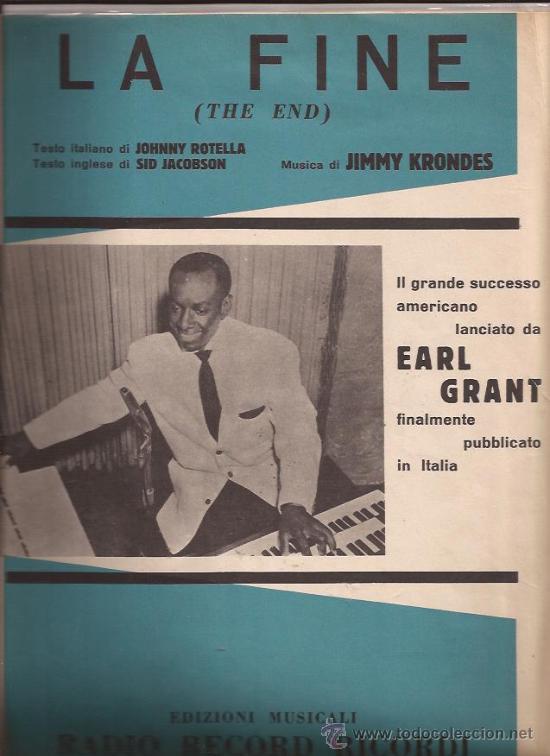 PARTITURA-EARL GRANT-THE END-ITALIA-1958- (Música - Partituras Musicales Antiguas)