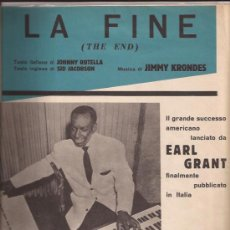 Partituras musicales: PARTITURA-EARL GRANT-THE END-ITALIA-1958-. Lote 28892156
