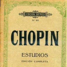 Partituras musicales: CHOPIN : ESTUDIOS - EDICIÓN COMPLETA (BOILEAU) . Lote 30214930