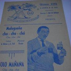 Partituras musicales: PARTITURA PARA PIANO Y CONTRABAJO. VIRATA: MALAGUEÑA CHA CHA CHA. RAUL ARANDA: SOLO MAÑANA. CHA CHA. Lote 30612646
