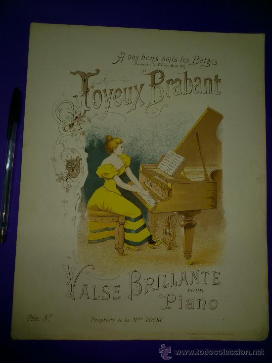 PARTITURA: JOYEUX BRABANT. VALSE BRILLANTE POUR PIANO... (Música - Partituras Musicales Antiguas)