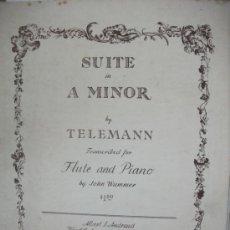Partituras musicales: PART. TELEMANN SUITE EN A MENOR P FLAUTA Y PIANO- AÑO 1942 -. Lote 30938710