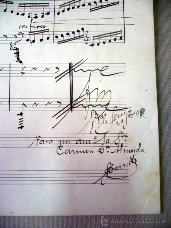 PARTITURA MANUSCRITO, AL PIE DE LA REJA, LUIS MARIANI, OP 33, CON ARREGLOS DE CARRILLO, 1898 (Música - Partituras Musicales Antiguas)