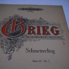 Partituras musicales: PARTITURA. EDVARD GRIEG: SCHMETTERLING. OP. 43, Nº 1. EDI. PETERS Nº 2540. 7 PAGS.. Lote 31633810
