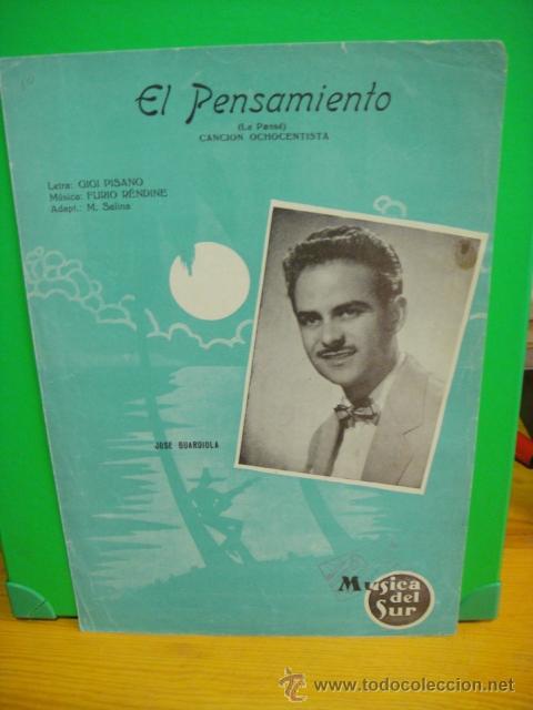 PARTITURA DE LA CANCION EL PENSAMIENTO - JOSE GUARDIOLA (Música - Partituras Musicales Antiguas)