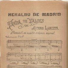 Partituras musicales: HERALDO DE MADRID. TANDA VALSES. DE ARTURO LAPUERTA. Lote 31765775