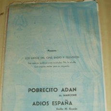 Partituras musicales: - PARTITURA POBRECITO ADAN MARCONE + ADIOS ESPAÑA EMILIO M GASCON . Lote 32259049