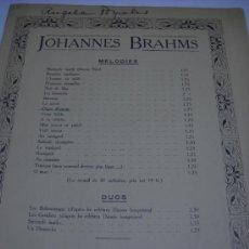 Partituras musicales: PARTITURA PARA CANTO Y PIANO. BRAHMS: CHANT D'AMOUR. OP. 71 Nº 5. PARIS, J. HAMELLE, 5 PAGS. MANCHA. Lote 32420852
