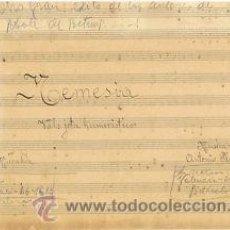 Partituras musicales: MUSICA.PARTITURA MANUSCRITA.NEMESIA.C.1920.PAGS.8, AUTOR MUSICA : ANTONIO PLANAS. Lote 32559982