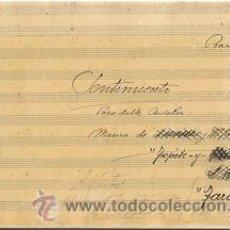 Partituras musicales: MUSICA.PARTITURA MANUSCRITA.SENTIMIENTO- PASODOBLE ANDALUZ.C.1920.PAGS.12.AUTOR MUSICA : TAROTA . Lote 32571407