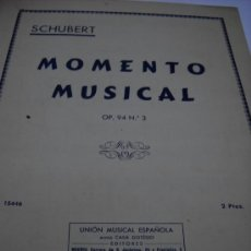 Partituras musicales: PARTITURA. SCHUBERT: MOMENTO MUSICAL. OP. 94. Nº 3. UNION MUSICAL ESPAÑOLA. 2 HOJAS.. Lote 32571501