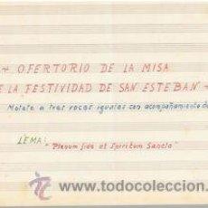 Partituras musicales: USICA.PARTITURA MANUSCRITA.OOFERTORIO DE LA MISA DE SAN ESTEBAN.C.1920.PAGS.4. Lote 32572322