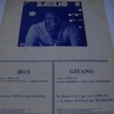 Partituras musicales: PARTITURA VARIOS INSTRUMENTOS. PABLO HERRERO Y J.L. ARMENTEROS: GITANO. J.C. CATALA.Y J. CRESPO: HOY. Lote 32691063