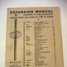 Partitions Musicales: EL DANUBIO AZUL ARREGLOS PARA PIANO POR LUIS G.JORDA. Lote 32850004