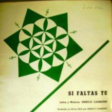 Partituras musicales: PARTITURAS PARA CONJUNTOS: SI FALTAS TU - MAÑANA - EDICIONES MUSICALES RCA AÑO 1966.. Lote 32911921