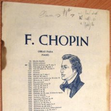 Partituras musicales: (VR521) F. CHOPIN - OBRAS PARA PIANO 498. Lote 33065149