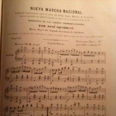 Partituras musicales: NUEVA MARCHA NACIONAL COMPUESTA EXPRESAMENTE APERTURA CORTES CONSTITUYENTES 1869. SQUADRANI.. Lote 33323809