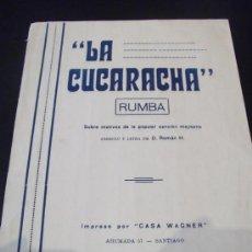Partituras musicales: PARTITURA DE LA CUCARACHA RUMBA DE CASA WANGER AÑO 1935. Lote 33431355