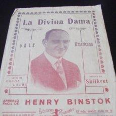 Partituras musicales: PARTITURA LA DIVINA DAMA VALS AMERICANO SHILKRET DE JULIO KORN. Lote 33431698