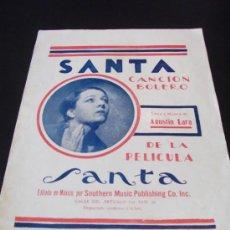 Partituras musicales: PARTITURA SANTA DE AGUSTIN LARA SOUTHERN MUSIC PUBLISHING CO BOLERO. Lote 112819654