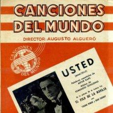 Partiture musicali: USTED - DE LA PELÍCULA EL FILO DE LA NAVAJA. Lote 33752137