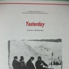 Partituras musicales: PARTITURA ESPAÑOLA YESTERDAY THE BEATLES . Lote 34482181