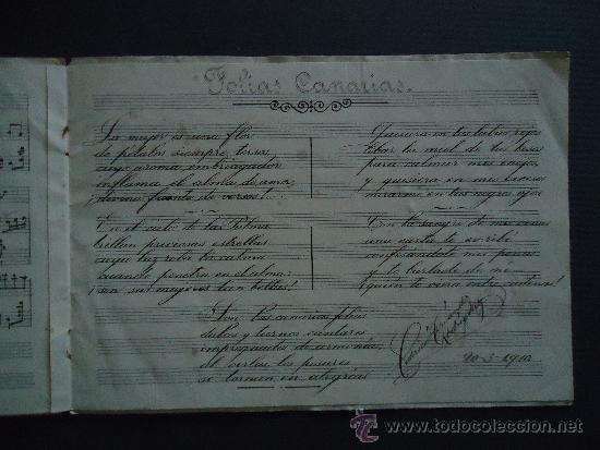 PARTITURA MANUSCRITA.'FOLIAS CANARIAS PARA CANTO Y PIANO' 1910 (Música - Partituras Musicales Antiguas)