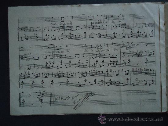 Partituras musicales: PARTITURA MANUSCRITA.'FOLIAS CANARIAS PARA CANTO Y PIANO' 1910 - Foto 2 - 35345360