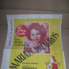 Partituras musicales: MARÍA DE LOS MILAGROS, EL GRAN ÉXITO DE ANA MARÍA GONZÁLEZ. BOLERO ESPAÑOL. AUGUSTO ALGUERÓ. 1951-52. Lote 35383628