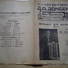 Partituras musicais: - AÑOS 30 PARTITURA BRUAY EN AVANT ACORDEON MUSICA DE JOS. ALEX JONGEN EDITIONS J.A. J. Lote 36281438