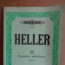 Partituras musicales: HELLER Nº 26. 25 ESTUDIOS MELÓDICOS. OP. 45 III. EDITORIAL BOILEAU. COMO NUEVO.. Lote 37004743