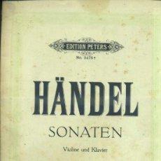 Partituras musicales: HÄNDEL : SONATEN BAND 1 - VIOLIN Y PIANO. Lote 37785221