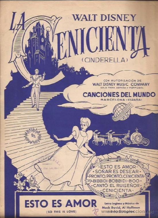 PARTITURA-LA CENICIENTA ESTO ES AMOR SO THIS LOVE-WALT DISNEY-CANCIONES DEL MUNDO BARCELONA 1959 (Música - Partituras Musicales Antiguas)