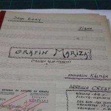 Partituras musicales: PARTITURA MANUSCRITA. E. KÁLMAN: MOTIVOS DE LA OPERETA GRAFIN MARIZA. ARREGLO CRESPO. PARA PIANO, . Lote 38756173
