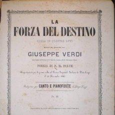 Partituras musicales: LA FORZA DEL DESTINO. OPERA IN QUATTTRO ATTI. VERDI, GIUSEPPE. Lote 38798238