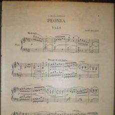 Partituras musicales: PEONIA. VALS. A MARINA CAÑIZARES (PARTITURA PARA PIANO). BALART, JOSÉ. Lote 38810378