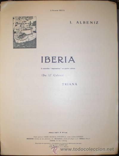ALBENIZ: IBERIA. TRIANA (PARTITURA PARA PIANO) (Música - Partituras Musicales Antiguas)