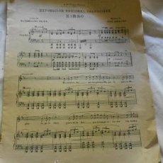 Partituras musicales: PARTITURA DEL HIMNO DE LA EXPOSICIÓN REGIONAL VALENCIANA. Lote 38924474