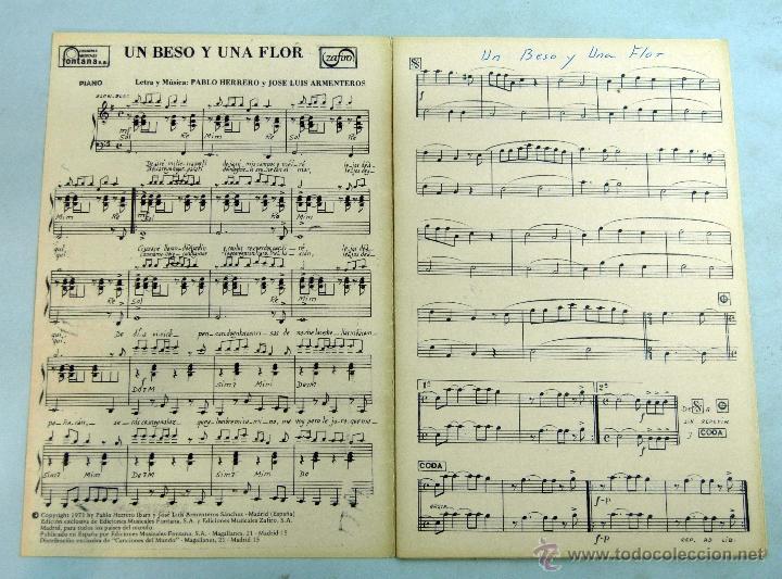 Partitura Letra Canción Un Beso Y Una Flor Herr Vendido En Venta Directa 41421117