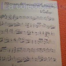 Partituras musicales: PARTITURA MANUSCRITA MOMENTO MUSICAL SCHUBER VIOLIN AÑOS 1920. Lote 41474861