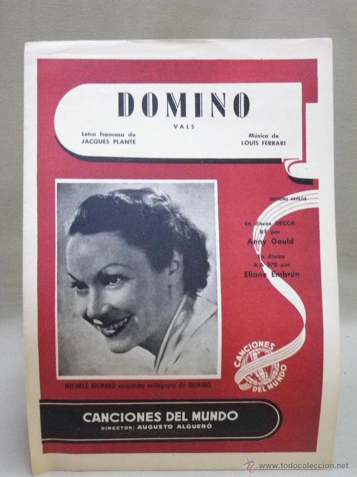 ANTIGUA PARTITURA, DOMINO, VALS, MICHELE RICHARD, CANCIONES DEL MUNDO (Música - Partituras Musicales Antiguas)