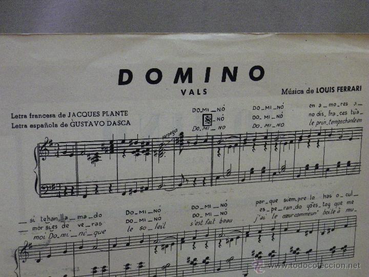 Partituras musicales: ANTIGUA PARTITURA, DOMINO, VALS, MICHELE RICHARD, CANCIONES DEL MUNDO - Foto 2 - 42706722