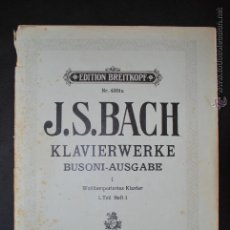 Partituras musicales: J.S. BACH - EDITION BREITKOPF Nº 4301A- . Lote 43612006