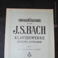 Partituras musicales: J.S. BACH - EDITION BREITKOPF Nº 4301C . Lote 43612055