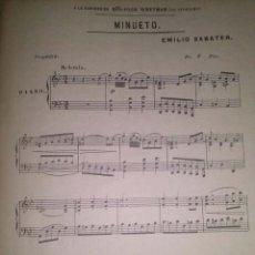 Partituras musicales: MINUETO DEDICADO A LA DISTINGUIDA SRTA. OLGA WRETMAN POR EMILIO SABATER. Lote 43937347