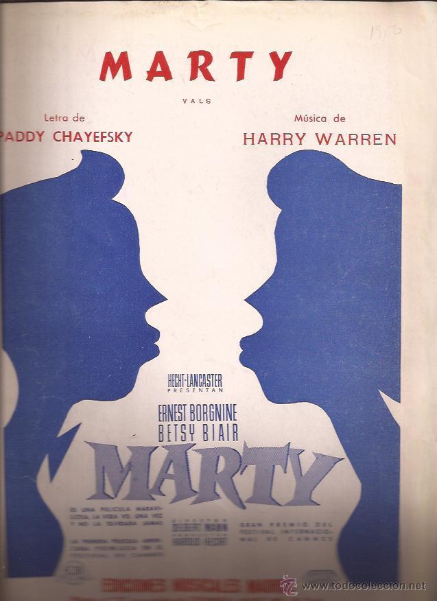 PARTITURA-MARTY CHAYEFSKY WARREN-SPAIN 1955-EDIC. MUSICALES MADRID-ERNEST BORGNINE-CINE (Música - Partituras Musicales Antiguas)