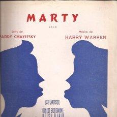 Partituras musicales: PARTITURA-MARTY CHAYEFSKY WARREN-SPAIN 1955-EDIC. MUSICALES MADRID-ERNEST BORGNINE-CINE. Lote 44240744