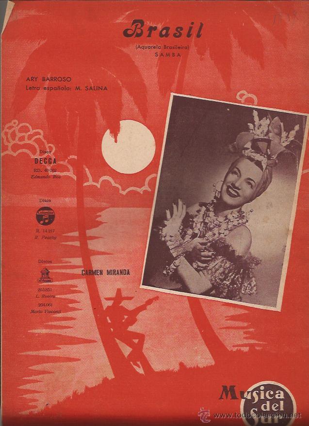PARTITURA-CARMEN MIRANDA BRASIL-MUSICA DEL SUR-SPAIN 1941 (Música - Partituras Musicales Antiguas)